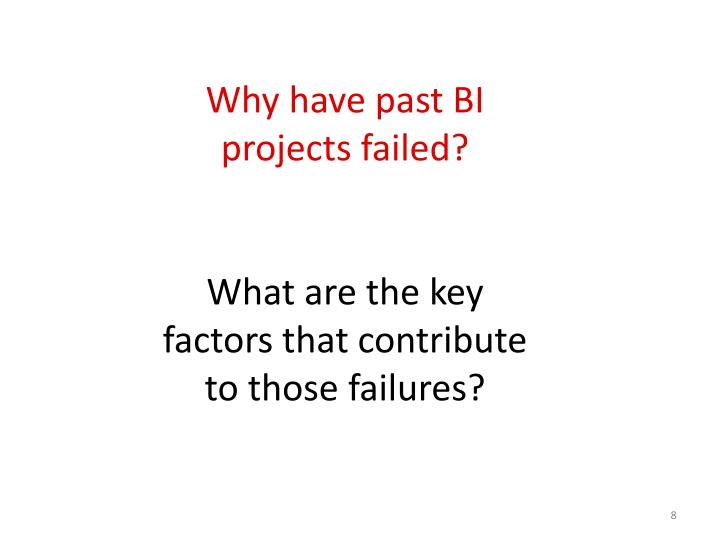 Why have past BI projects failed?