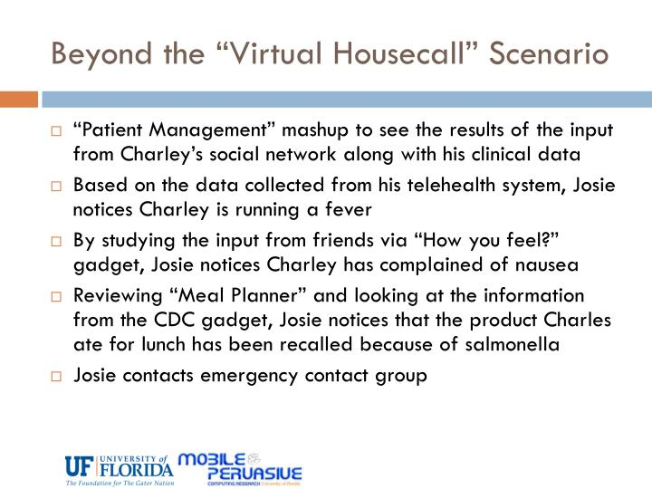 "Beyond the ""Virtual Housecall"" Scenario"