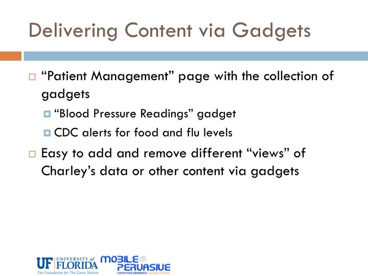 Delivering Content via Gadgets