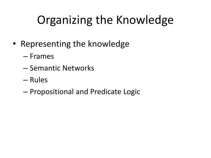 Organizing the Knowledge