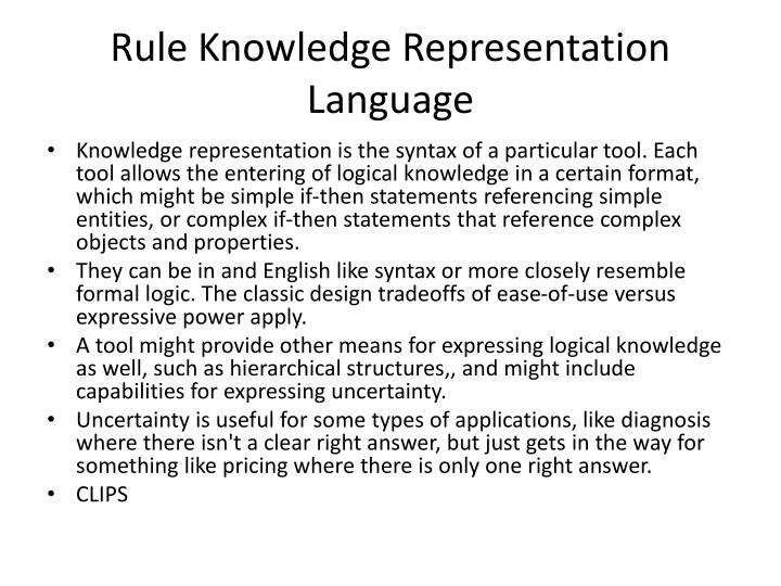 Rule Knowledge Representation Language