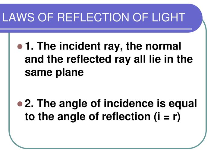 LAWS OF REFLECTION OF LIGHT