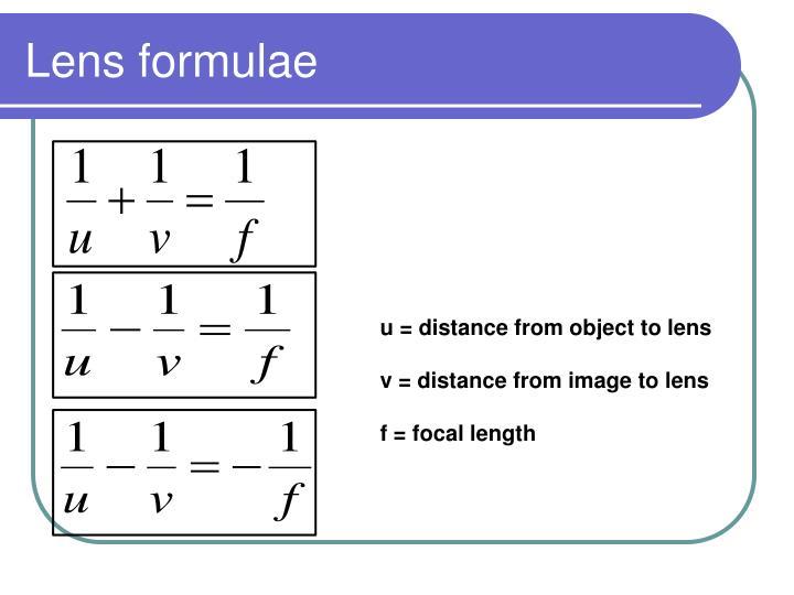 Lens formulae