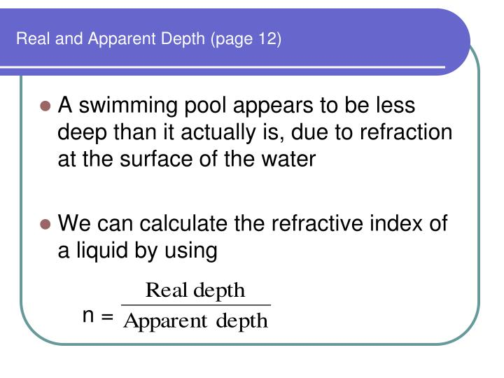 Real and Apparent Depth (page 12)