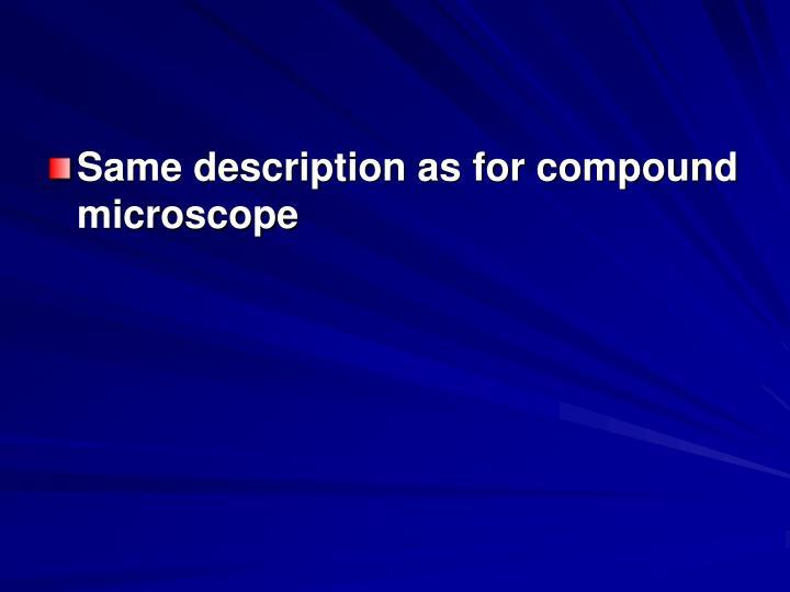 Same description as for compound microscope