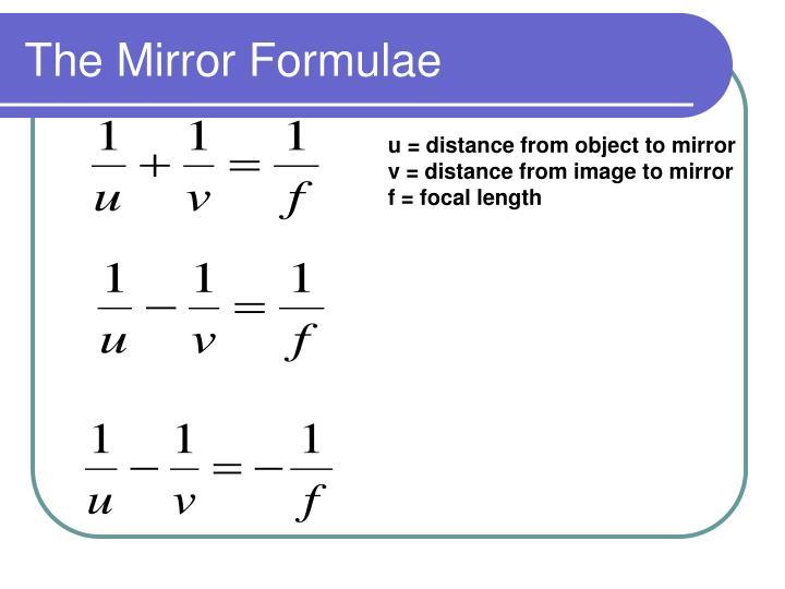 The Mirror Formulae