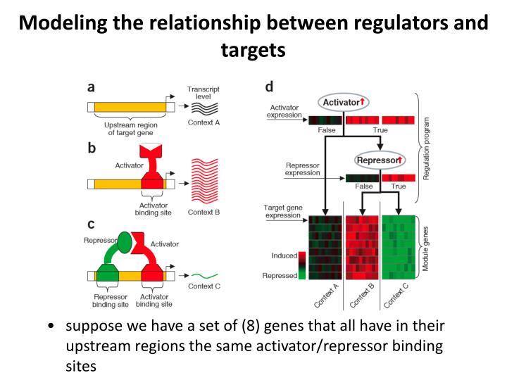 Modeling the relationship between regulators and targets