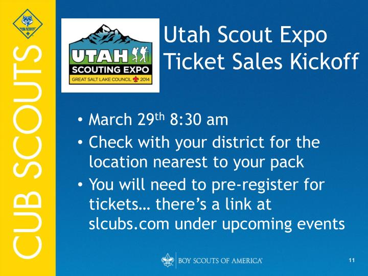 Utah Scout Expo Ticket Sales Kickoff