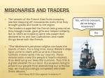 misionaries and traders