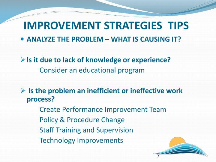 IMPROVEMENT STRATEGIES  TIPS