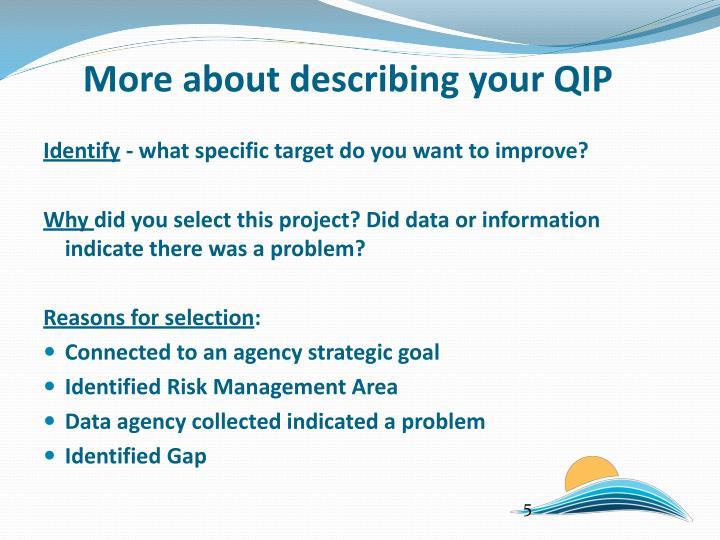 More about describing your QIP