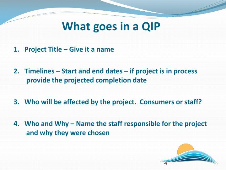 What goes in a QIP