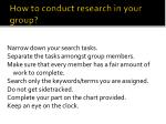 how to conduct research in your group