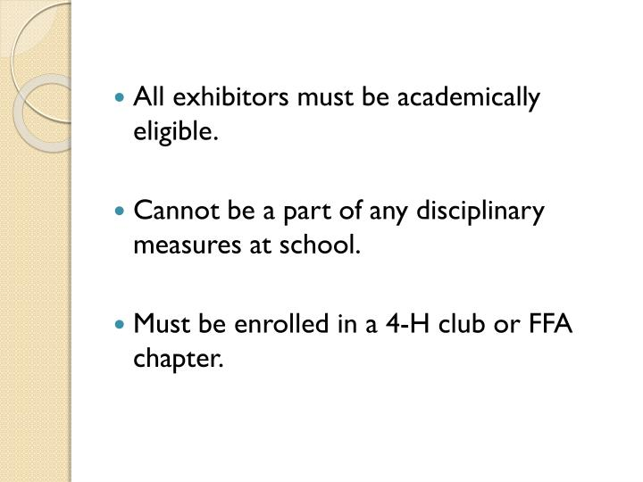 All exhibitors must be academically eligible.