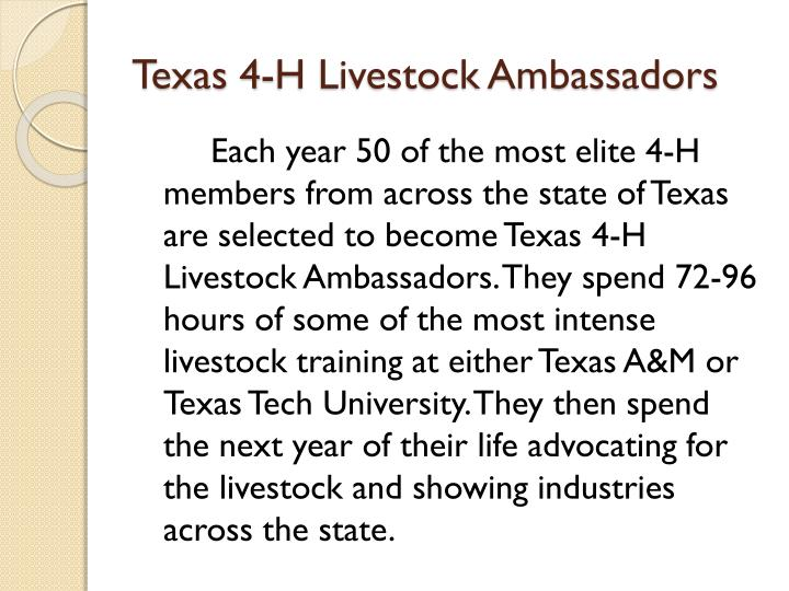 Texas 4-H Livestock Ambassadors