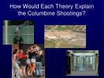 how would each theory explain the columbine shootings