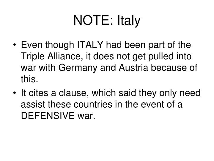 NOTE: Italy