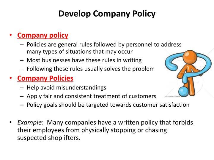 Develop Company Policy