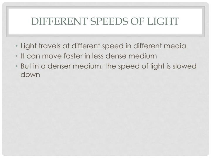 Different speeds of light