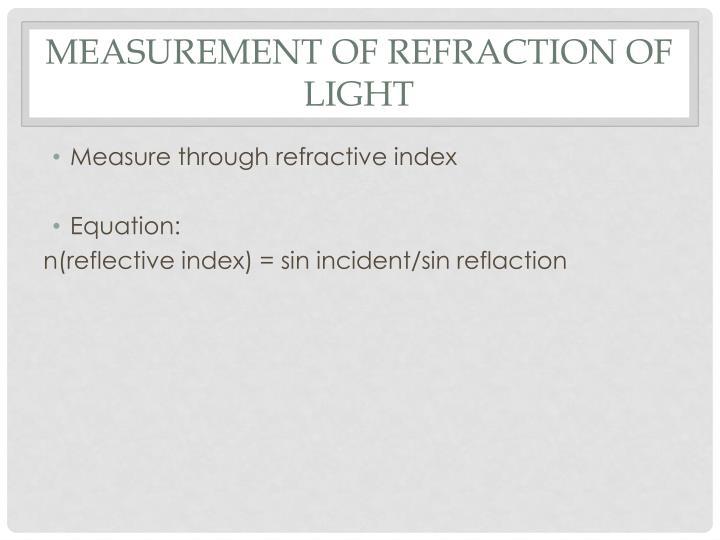 Measurement of refraction of light