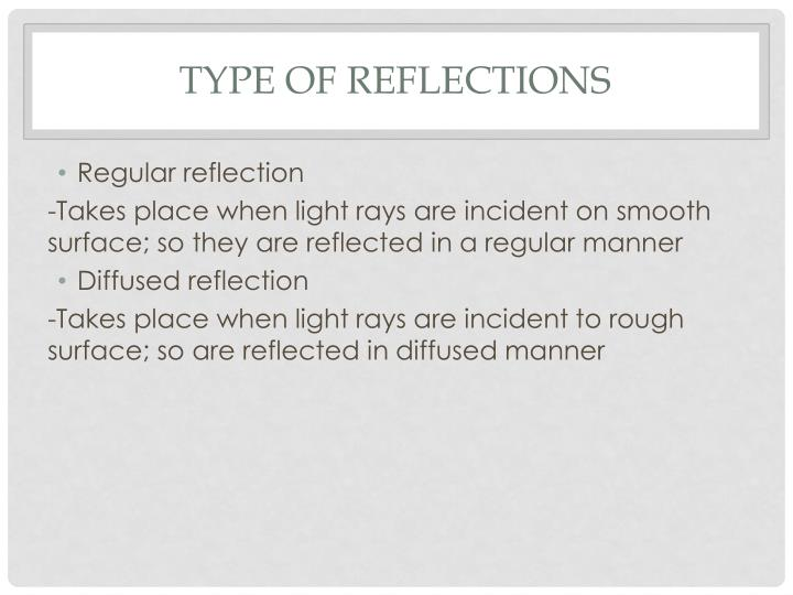 Type of reflections