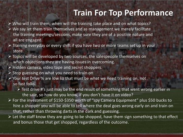 Train For Top Performance