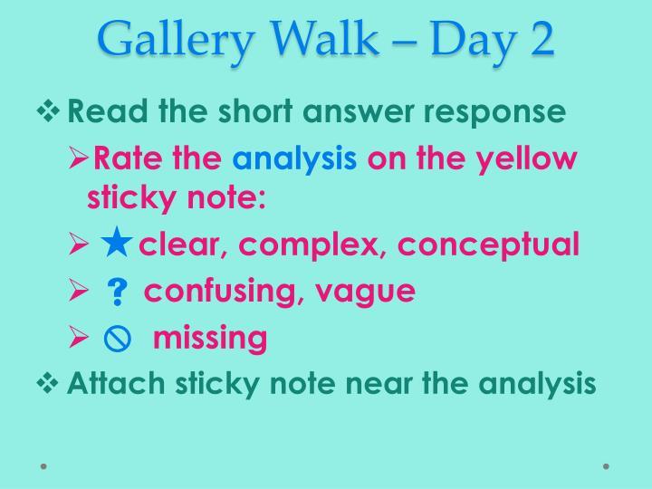 Gallery Walk – Day 2