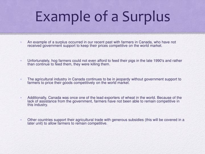 Example of a Surplus