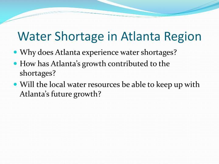 Water shortage in atlanta region