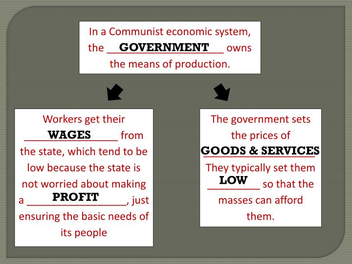 In a Communist economic system, the ____________________ owns the means of production.