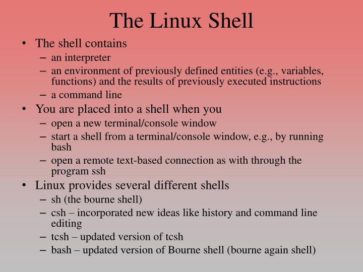the linux shell n.