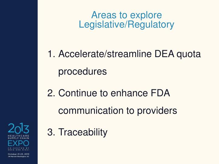 Areas to explore Legislative/Regulatory