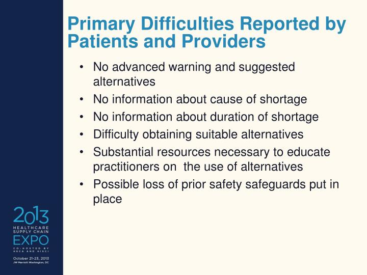 Primary Difficulties Reported by Patients and Providers