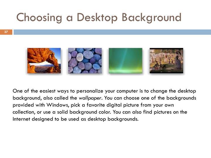 Choosing a Desktop Background