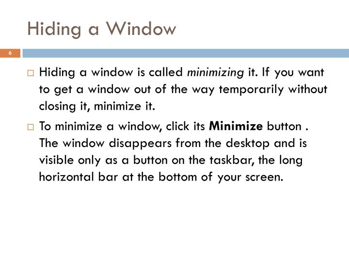 Hiding a Window