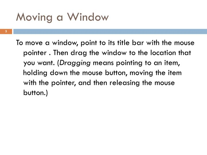 Moving a window