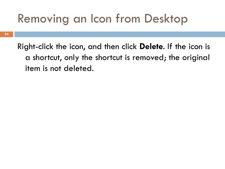 Removing an Icon from Desktop