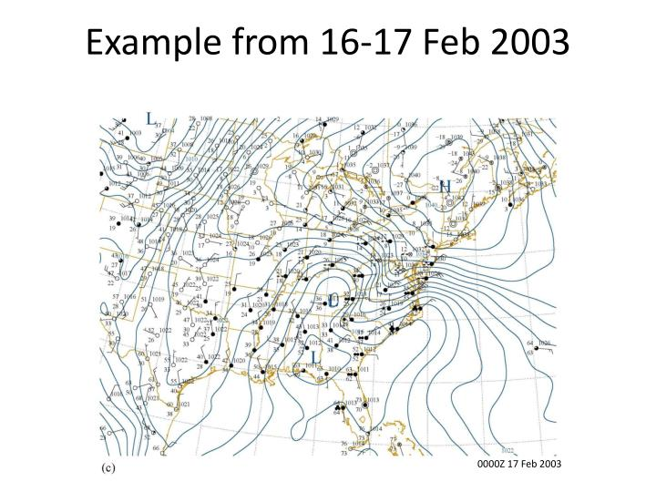 Example from 16-17 Feb 2003