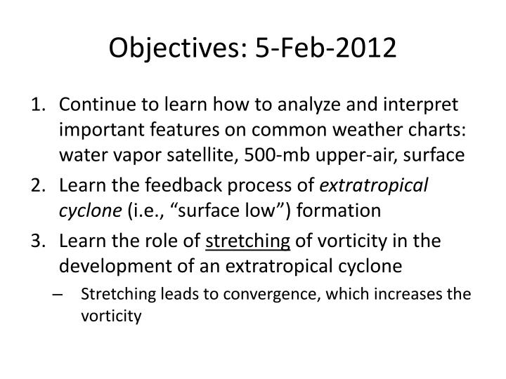 Objectives 5 feb 2012