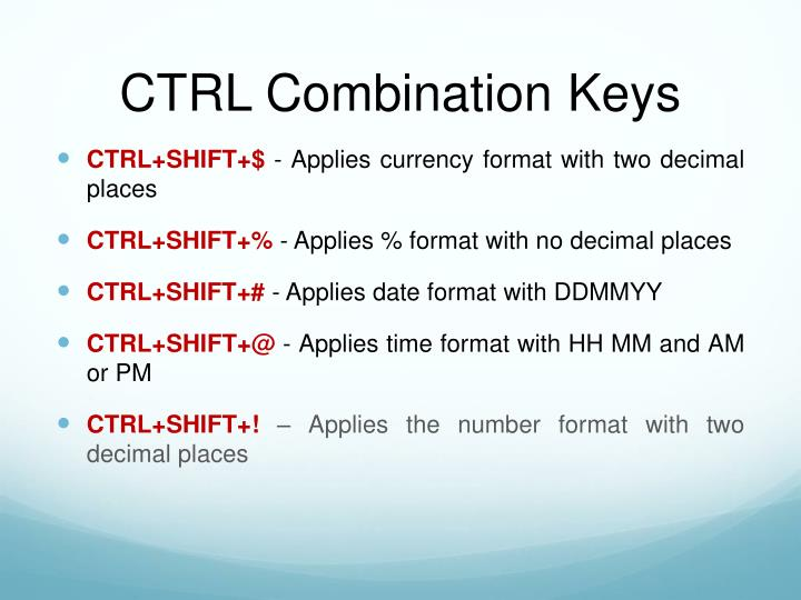 CTRL Combination Keys