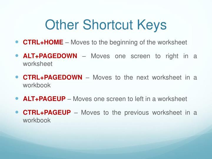 Other Shortcut Keys