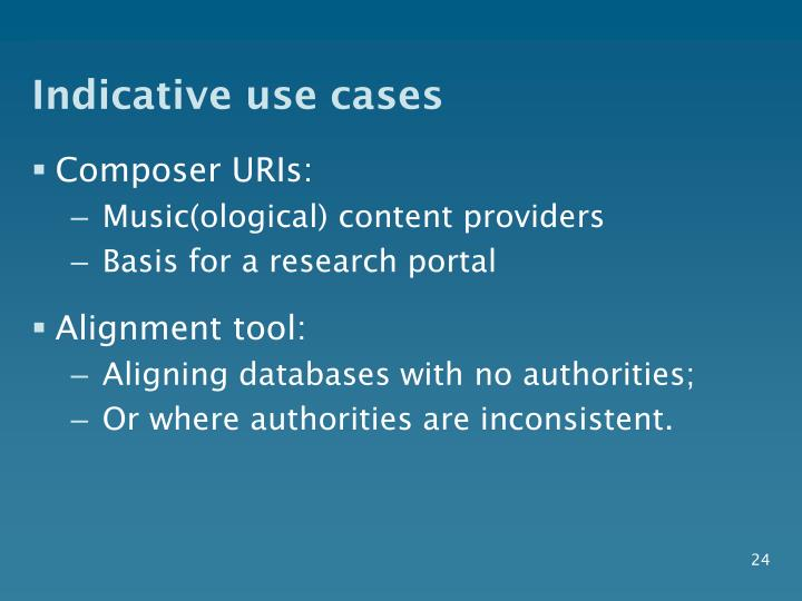 Indicative use cases