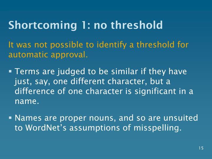 Shortcoming 1: no threshold