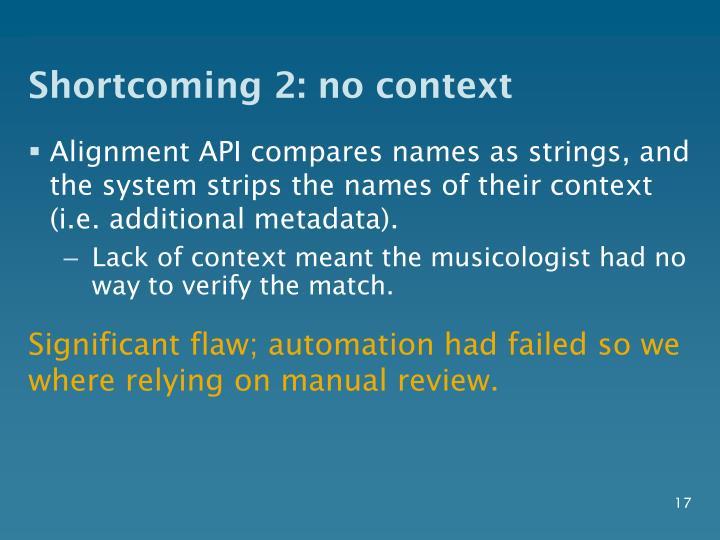 Shortcoming 2: no context