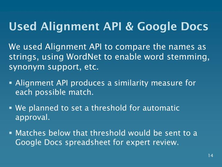 Used Alignment API & Google Docs