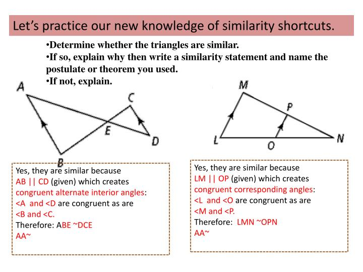 Let's practice our new knowledge of similarity shortcuts.