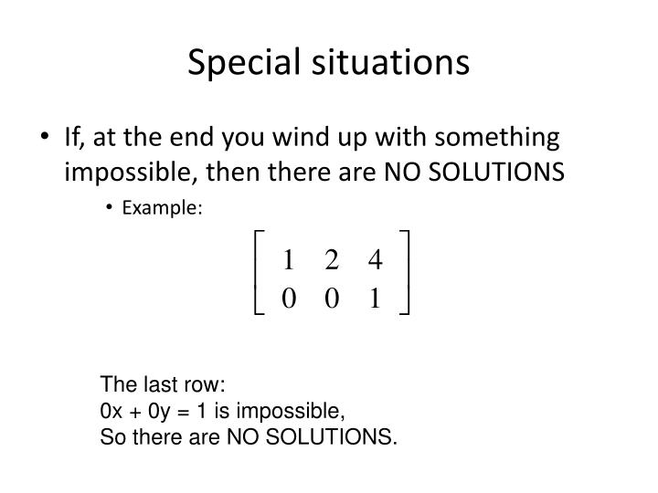 Special situations