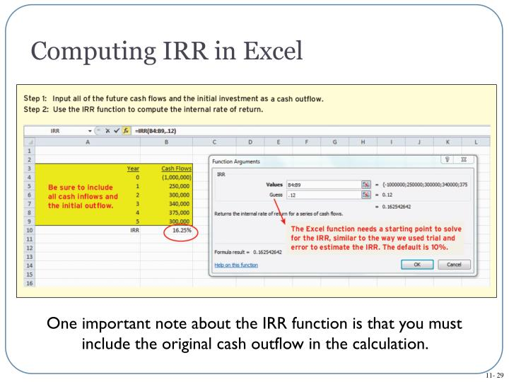 Computing IRR in Excel