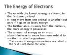 the energy of electrons