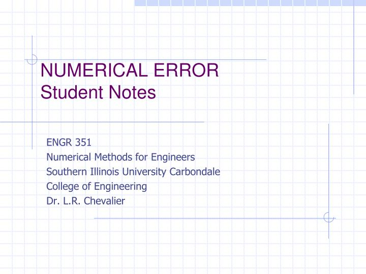 numerical error student notes n.